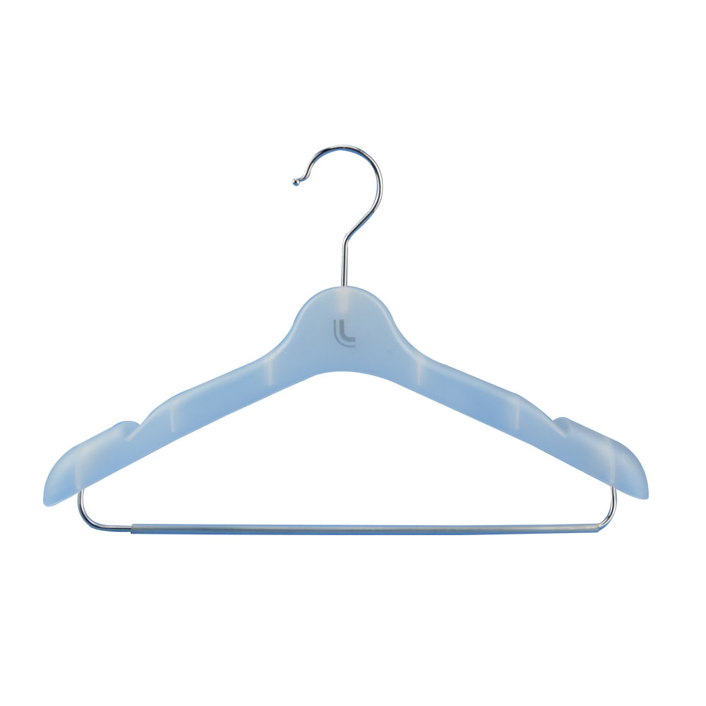 female colored grainy plastic hanger with logo clothing