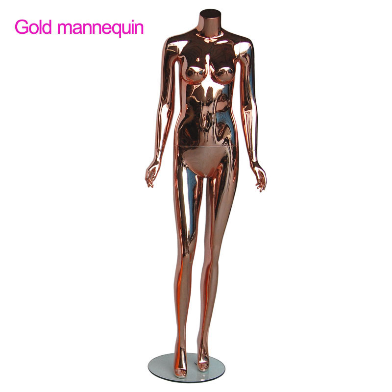 fashion headless no wig gold rose plating sitting female mannequins
