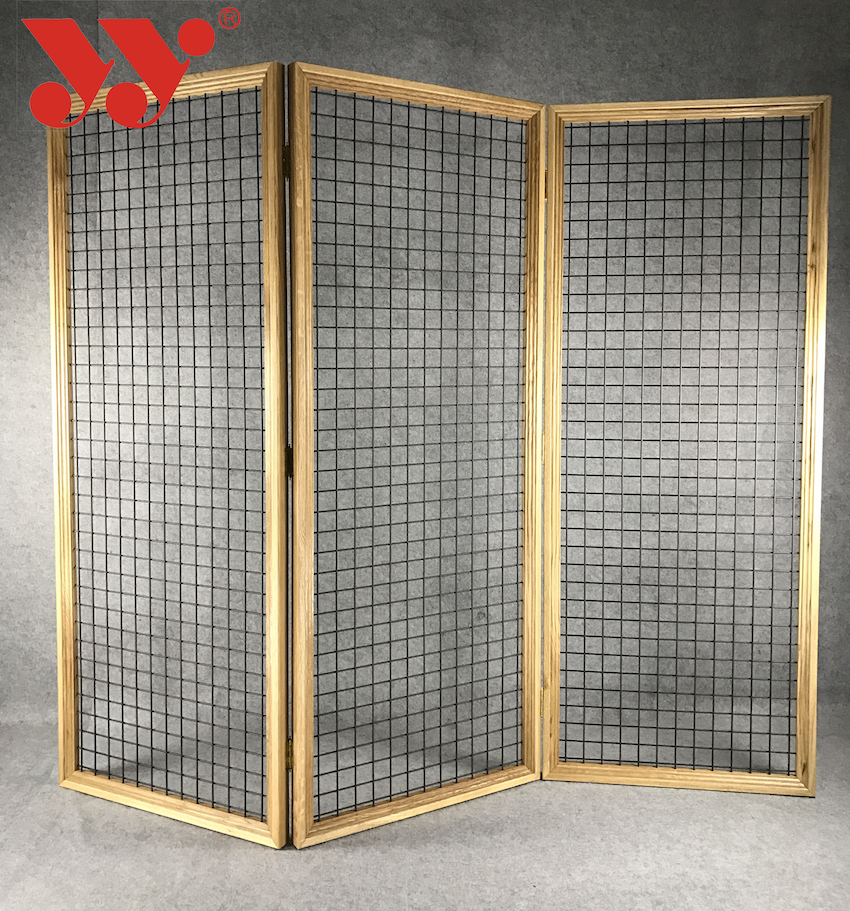Fashion Wooden Mesh Folding Screen