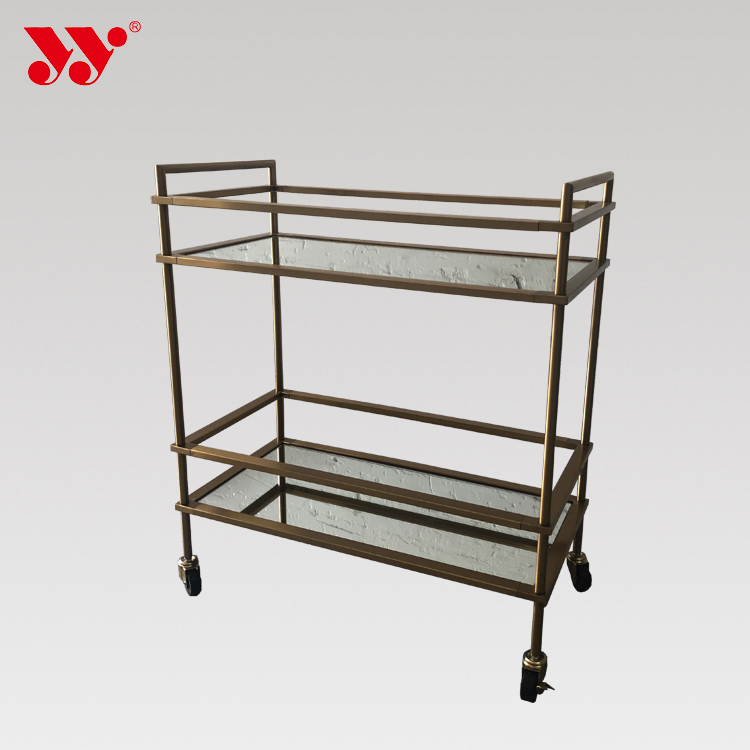 Golden Stainless Steel Mirror Trolley