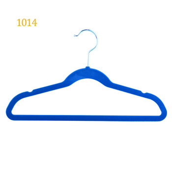 "14"" custom thin velvet plastic blue anti slip shirts coats bar hanger"